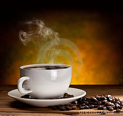Free Cup Of Coffee With Coffee Beans Stock Image - 19205361