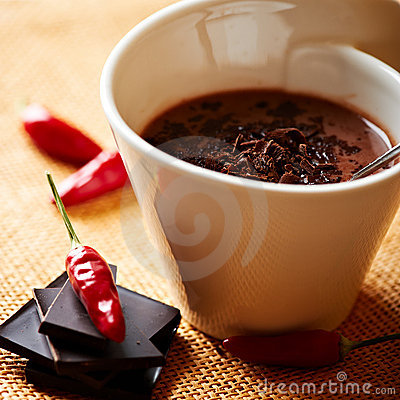 Free Cup Of Hot Chocolate With Chili Pepper Stock Images - 21758704