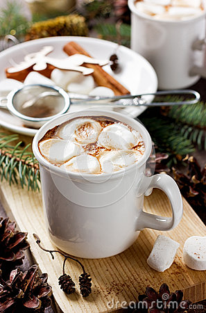 Free Cup Of Hot Cocoa Or Chocolate With Marshmallows On Wooden Background Royalty Free Stock Photo - 48151815