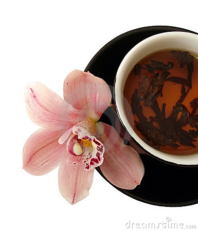 Free Cup Of Tea With Pink Orchids On Black Plate Isolated Stock Photography - 1966642