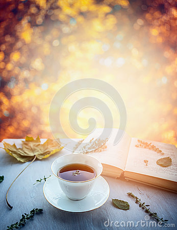 Free Cup Of Tea With Thyme, Autumn Leaves And Open Book On Wooden Window Sill On Nature Autumn Blured Background Stock Photo - 61713790