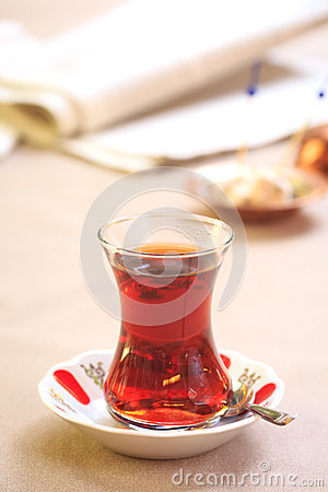 Free Cup Of Turkish Tea With Locum On Oriental Plate. Concept Of Turk Stock Photo - 79017730