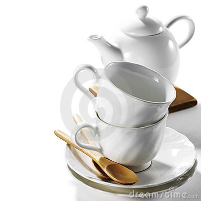 Cup and saucer with pot