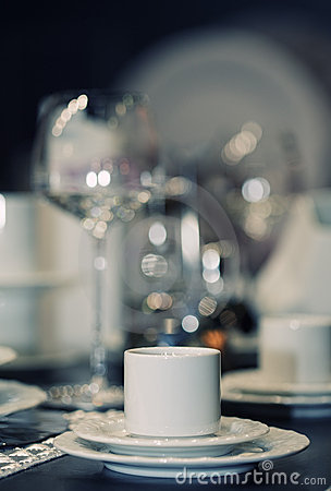 Cup on served table