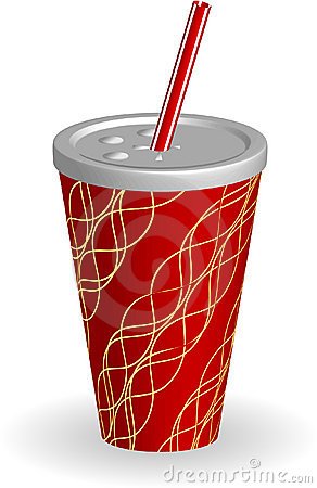 Cup of soda with striped straw