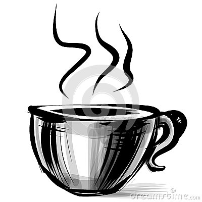 Cup with steam stylized on white