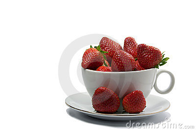 In the cup of strawberry
