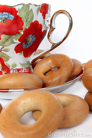 Cup of tea with bagels