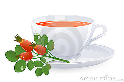 Cup of tea with branch of rose-hips