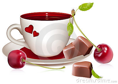Cup of tea (coffee) heart-shaped chocolates and ri
