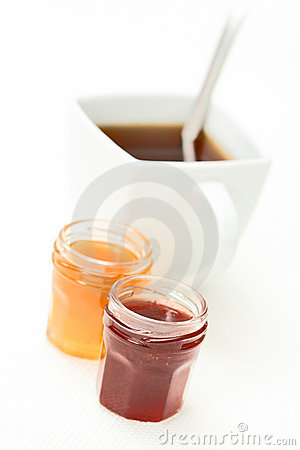Cup of tea with confiture