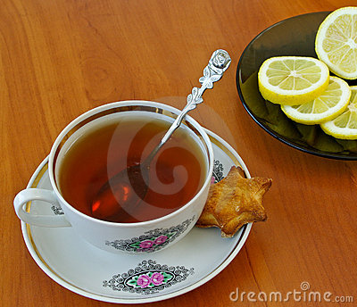 Cup of tea and lemon