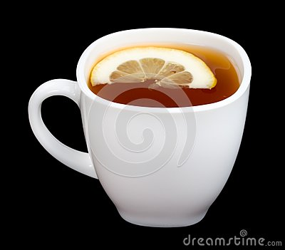 Cup of tea with lemon on black