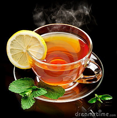 Cup tea with mint and lemon.