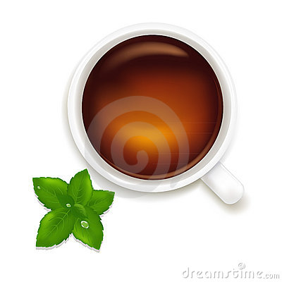 Cup Of Tea With Mint. Vector