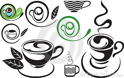 A cup of tea. Sign. The stylized black and white