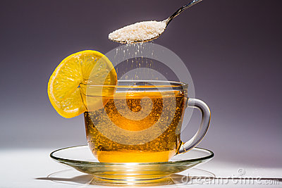 Cup of tea and slice of lemon