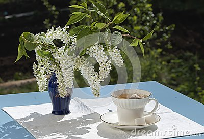 Cup of tea on table in a garden in the spring