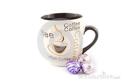 Cup with text coffee and chocolate eastern eggs