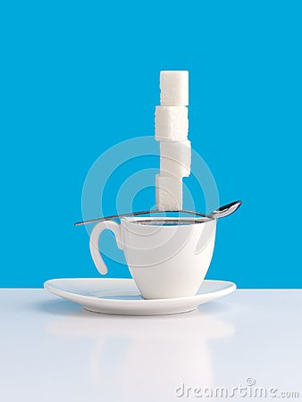 Free Cup With Coffee, Sugar And Spoon. Stock Photography - 100670802
