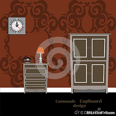 Cupboard and Commode Vector Illustration