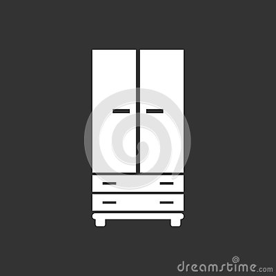 Cupboard icon on black background. Vector Illustration