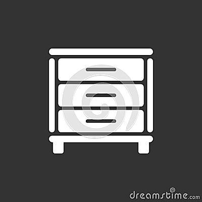 Cupboard icon on black background Vector Illustration