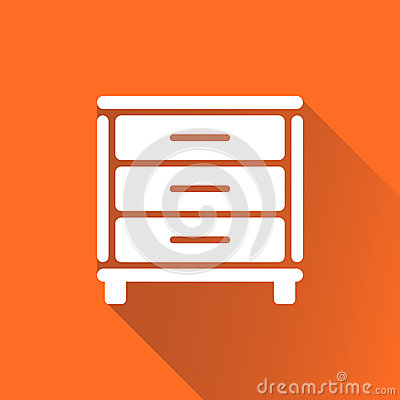 Cupboard icon on orange background with long shadow. Vector Illustration