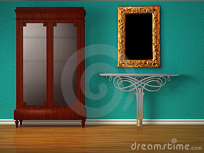 Cupboard with metallic table and mirror