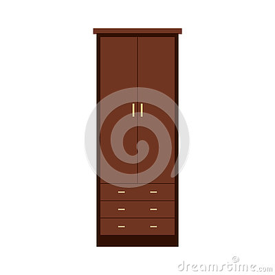 Cupboard wardrobe flat icon Vector Illustration
