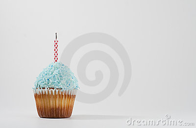 Cupcake with blue cocunut icing