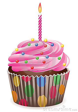 Cupcake With Burning Candle Royalty Free Stock Photo