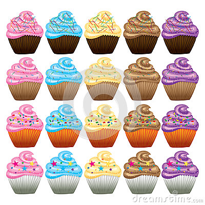 Cupcake with butter cream vector