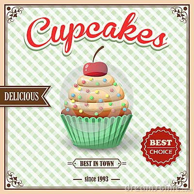 Free Cupcake Cafe Poster Stock Photos - 43808733