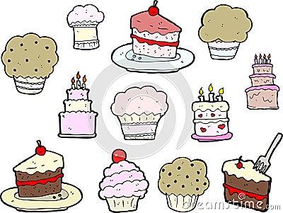 Cupcake and Cake Drawings