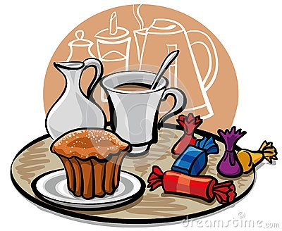 Cupcake, candy and coffee with milk