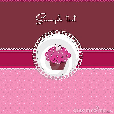 Free Cupcake Card With Heart Royalty Free Stock Photos - 17038468