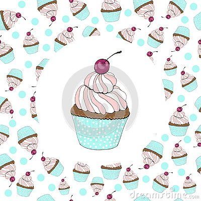 Cupcake with a cherry birthday card Stock Photo