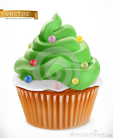 Cupcake. Christmas decorations, 3d vector icon Vector Illustration