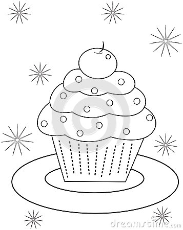 Cupcake Coloring Page Stock Illustration