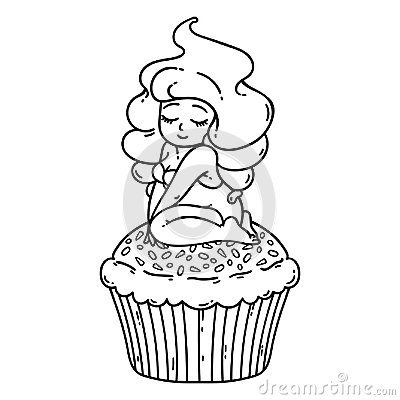 Cupcake cream fairy. Cute girl on cupcake. Isolated objects on white background. Vector illustration. Coloring outline. Vector Illustration