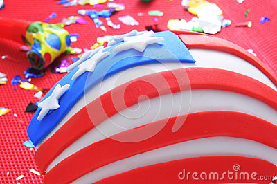 Cupcake decorated as the United States flag