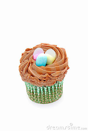 Cupcake with Easter eggs on top