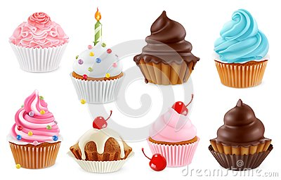 Cupcake, fairy cake. 3d vector icon set Vector Illustration