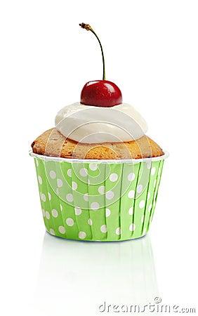 Cupcake  with fresh cherry