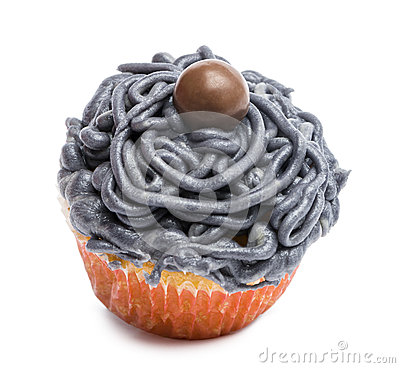 Cupcake with gray icing against white background
