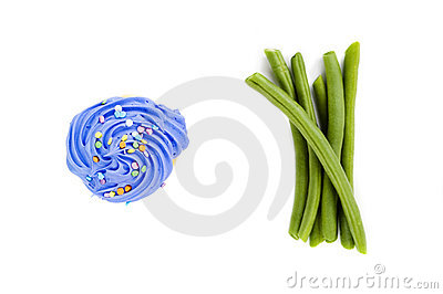 Cupcake and green beans