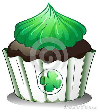 A cupcake with a green icing