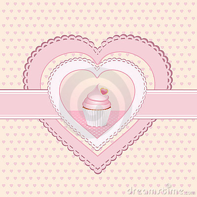 Cupcake heart label
