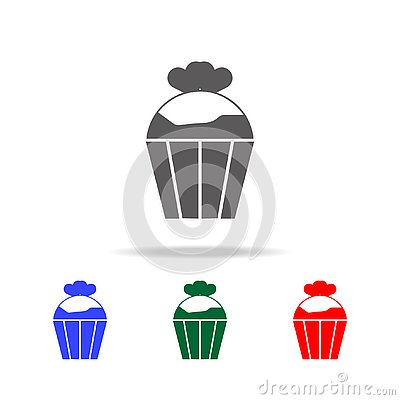 cupcake with heats icon. Elements of love in multi colored icons. Premium quality graphic design icon. Simple icon for websites, Stock Photo